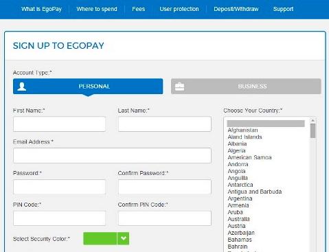 Регистрация на EgoPay